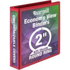 "Samsill Economy Round Ring View Binders - 2"" Binder Capacity - Letter - 8 1/2"" x 11"" Sheet Size - 450 Sheet Capacity - 3 x Round Ring Fastener(s) - 2 Internal Pocket(s) - Polypropylene, Chipboard - Re"