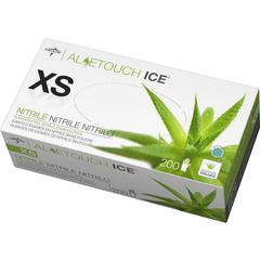 Medline Aloetouch Ice Nitrile Gloves - X-Small Size - Nitrile - Latex-free, Textured, Powder-free - For Healthcare Working - 200 / Box