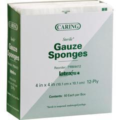"""Medline Sterile Gauze Sponges - 12 Ply - 4"""" x 4"""" - 50/Box - White"""