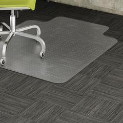 "Lorell Wide Lip Low-pile Chairmat - Carpeted Floor - 53"" Length x 45"" Width x 0.12"" Thickness - Lip Size 12"" Length x 25"" Width - Vinyl - Clear"