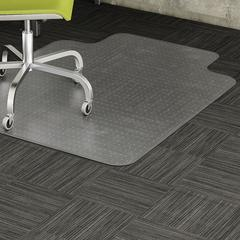 "Lorell Low Pile Chair Mat - Carpeted Floor - 60"" Length x 45"" Width x 0.12"" Thickness - Lip Size 12"" Length x 25"" Width - Vinyl - Clear"