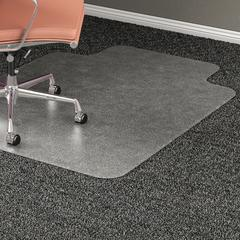 "Lorell Wide Lip Medium Pile Chairmat - Carpeted Floor - 53"" Length x 45"" Width x 0.17"" Thickness - Lip Size 12"" Length x 25"" Width - Vinyl - Clear"