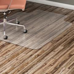 "Lorell Hard Floor Wide Lip Vinyl Chairmat - Hard Floor, Wood Floor, Vinyl Floor, Tile Floor - 53"" Length x 45"" Width x 95 mil Thickness - Lip Size 12"" Length x 25"" Width - Vinyl - Clear"