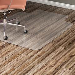 "Lorell Hard Floor Wide Lip Vinyl Chairmat - Hard Floor, Wood Floor, Vinyl Floor, Tile Floor - 60"" Length x 46"" Width x 95 mil Thickness - Lip Size 12"" Length x 25"" Width - Vinyl - Clear"