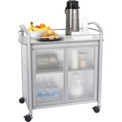 """Safco Impromptu Refreshment Cart - 4 Casters - 34"""" Width x 21.3"""" Depth x 36.5"""" Height - Steel Frame - Gray"""