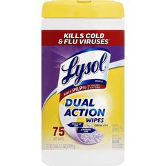 "Lysol Dual Action Wipes - Wipe - Citrus Scent - 7"" Width x 8"" Length - 75 / Canister - 1 Each"