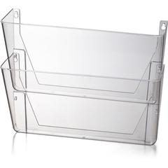 """OIC Wall Mountable Space-Saving Files - 10.6"""" Height x 13"""" Width x 4.1"""" Depth - Partition-mountable, Wall Mountable - Clear - Plastic - 2 / Box"""