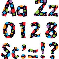 "Trend Ready Letter Neon Dots - 83 Lowercase Letters, 20 Numbers, 36 Punctuation Marks, 59 Uppercase Letters, 18 Spanish Accent Mark - Pin-up - 4"" Height - Assorted - 1 / Pack"