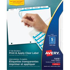 "Avery Index Maker Print & Apply Clear Label Dividers with White Tabs - 5 Blank Tab(s) - 5 Tab(s)/Set - 8.5"" Divider Width x 11"" Divider Length - Letter - 3 Hole Punched - White Divider - White Tab(s)"