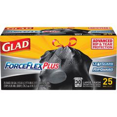 Glad Dual Defense Drawstring Large Trash Bags - Large Size - 30 gal - Black - 1Box - 25 Per Box - Home, Office
