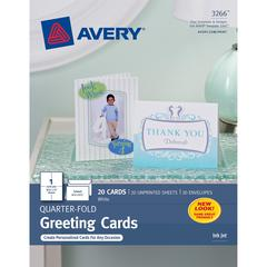 "Avery® Greeting Card - 4 1/4"" x 5 1/2"" - Matte - 20 / Pack - White"