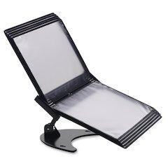 "Tarifold 3D Desk Stand w/ 10 Pockets, Black - Desktop, Wall Mountable - 10 Panel/Pocket - Support Letter 8.50"" x 11"" Media - Landscape/Portrait Viewable, Non-skid, Sturdy, Pivot - Black - Polyvinyl Ch"