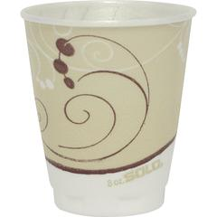 Solo Symphony Trophy Poly Hot s - 8 fl oz - 100 / Pack - Beige - Poly, Polyethylene - Hot Drink, Cold Drink, Coffee, Tea, Cocoa
