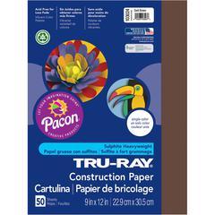 "Tru-Ray Construction Paper - Project, Bulletin Board - 9"" x 12"" - 50 / Pack - Dark Brown - Sulphite"