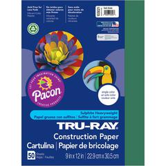 "Tru-Ray Construction Paper - Project, Bulletin Board - 9"" x 12"" - 50 / Pack - Dark Green - Sulphite"