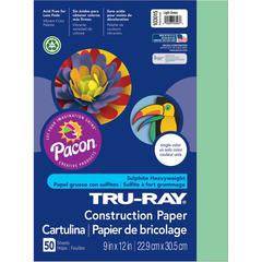 "Tru-Ray Heavyweight Construction Paper - 12"" x 9"" - 76 lb Basis Weight - 50 / Pack - Light Green - Sulphite"