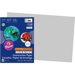"Riverside Construction Paper - 18"" x 12"" - 76 lb Basis Weight - 50 / Pack - Gray"
