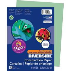 "Riverside Groundwood Construction Paper - 12"" x 9"" - 76 lb Basis Weight - 50 / Pack - Light Green - Groundwood"
