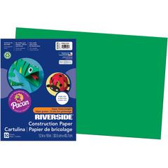 """Riverside Construction Paper - Classroom, Art - 12"""" x 18"""" - 50 / Pack - Holiday Green - Groundwood"""