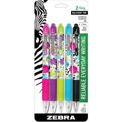 Z-Grip Daisies Ballpoint Pen - Medium Point Type - 1 mm Point Size - Assorted - 5 / Pack