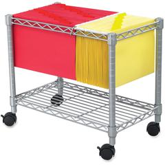 """Safco 5201GR Wire Mobile File - 1 Shelf - 300 lb Capacity - 4 Casters - 2"""" Caster Size - Steel - 14"""" Width x 24"""" Depth x 20.5"""" Height - Gray"""