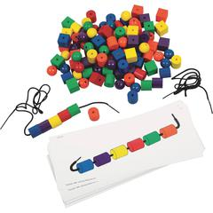 Learning Resources Beads and Pattern Card Set - Theme/Subject: Learning, Fun - Skill Learning: Tactile Discrimination, Visual, Shape, Patterning, Reading, Mathematics, Counting, Cardinality, Measureme