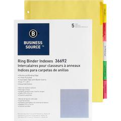 """Business Source Insertable Tab Ring Binder Indexes - 5 Blank Tab(s)2"""" Tab Width - 8.5"""" Divider Width x 11"""" Divider Length - Letter - 3 Hole Punched - Multicolor Tab(s) - 5 / Set"""