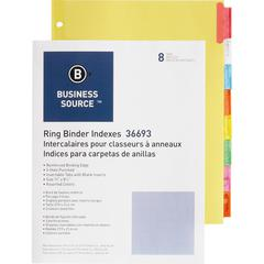 "Business Source Insertable Tab Ring Binder Indexes - 8 Blank Tab(s)1.50"" Tab Width - 8.5"" Divider Width x 11"" Divider Length - Letter - 3 Hole Punched - Multicolor Tab(s) - 8 / Set"