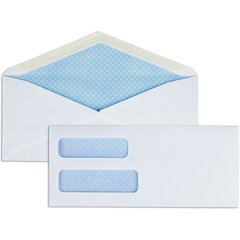"Business Source No. 9 Double Window Invoice Envelopes - Double Window - #9 - 8 7/8"" Width x 3 7/8"" Length - 24 lb - 500 / Box - White"