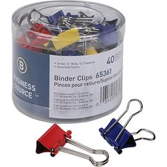 """Business Source Colored Fold-back Binder Clips - Small - 0.8"""" Width - 0.37"""" Size Capacity - 36 Pack - Assorted - Steel"""