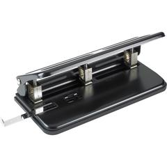 """Business Source Heavy-duty 3-hole Punch - 3 Punch Head(s) - 30 Sheet Capacity - 9/32"""" Punch Size - Black"""
