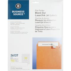 "Business Source Block-out File Folder Labels - Permanent Adhesive - 21/32"" Width x 3 7/16"" Length - Laser, Inkjet - White - 30 / Sheet - 750 / Pack"