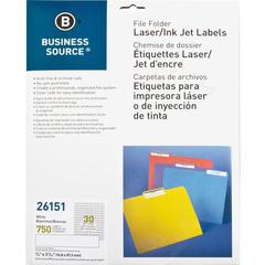 "Business Source Laser/Inkjet Permanent File Folder Labels - Permanent Adhesive - 43/64"" Width x 3 7/16"" Length - Rectangle - Laser, Inkjet - White - 30 / Sheet - 750 / Pack"
