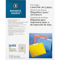"Business Source Laser/Inkjet File Folder Labels - Permanent Adhesive - 21/32"" Width x 3 7/16"" Length - Rectangle - Laser, Inkjet - White - Paper - 30 / Sheet - 1500 / Pack"