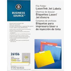 "Business Source Laser/Inkjet File Folder Labels - Permanent Adhesive - 21/32"" Width x 3 7/16"" Length - Rectangle - Laser, Inkjet - Yellow - Paper - 30 / Sheet - 1500 / Pack"