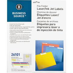 "Business Source Laser/Inkjet File Folder Labels - Permanent Adhesive - 21/32"" Width x 3 7/16"" Length - Rectangle - Laser, Inkjet - Assorted - 30 / Sheet - 750 / Pack"