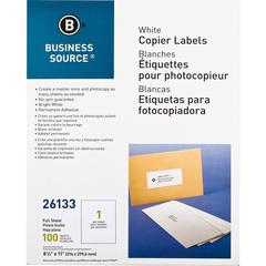 "Business Source 8-1/2""x11"" Copier Labels - 8 1/2"" Width x 11"" Length - Rectangle - White - 1 / Sheet - 100 / Pack"