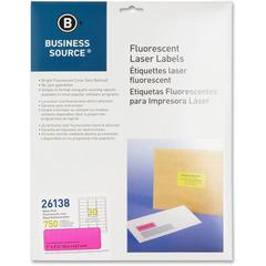 "Business Source 1"" Fluorescent Laser Labels - Permanent Adhesive - 1"" Width x 2 5/8"" Length - Rectangle - Laser - Neon Pink - 30 / Sheet - 750 / Pack"
