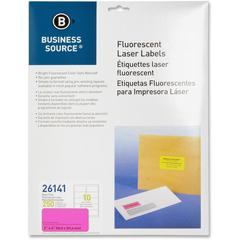 "Business Source 2"" Fluorescent Color Laser Labels - Permanent Adhesive - 2"" Width x 4"" Length - Rectangle - Laser - Neon Pink - 10 / Sheet - 250 / Pack"