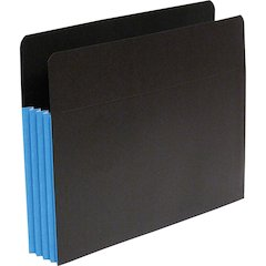 """SJ Paper Fusion 3-1/2"""" Expanding Clutch Pockets - Letter - 8 1/2"""" x 11"""" Sheet Size - 3 1/2"""" Expansion - 23 Pocket(s) - 23 pt. Folder Thickness - Blue, Black - Recycled - 25 / Box"""