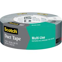 "Scotch® Multi-Use Duct Tape 1.88"" x 60 yd, Gray - 1.88"" Width x 60 yd Length - 3"" Core - 1 Roll - Silver"