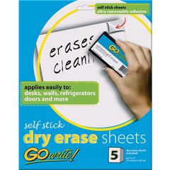 "GoWrite!® Dry Erase Sheet - Dry-erase, Self-adhesive - White Surface - 11"" Width x 8.5"" Length - No - 5 / Pack"