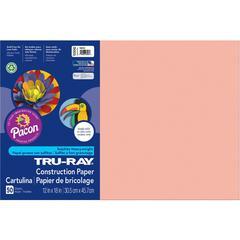 "Tru-Ray Heavyweight Construction Paper - 18"" x 12"" - 76 lb Basis Weight - 50 / Pack - Salmon - Sulphite"