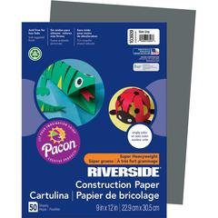 "Riverside Construction Paper - Classroom, Multipurpose - 9"" x 12"" - 50 / Pack - Slate Gray - Groundwood"