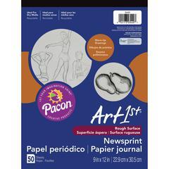"""Art1st Art1st Newsprint Pad - 50 Sheets - 48 g/m² Grammage 9"""" x 12"""" - White Paper - 1 / Pack"""