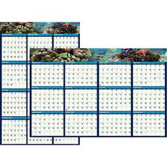 """House of Doolittle Earthscapes Sea Life Laminated Planner - Yes - 1 Year - January 2020 till December 2020 - 24"""" x 37"""" - Wall Mountable - Laminated, Erasable"""