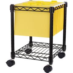 """Lorell Compact Mobile Wire Filling Cart - 4 Casters - 15.5"""" Width x 14"""" Depth x 19.5"""" Height - Metal Frame - Black"""