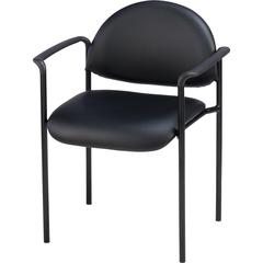 "Lorell Reception Guest Chair - Vinyl Black Seat - Vinyl Back - Steel Frame - Four-legged Base - Black - 23.8"" Width x 23.5"" Depth x 30.5"" Height"