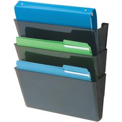 "deflecto Recycled DocuPocket Wall Files - Letter - 8 1/2"" x 11"" Sheet Size - 3 Pocket(s) - Plastic - Black - Recycled - 3 / Set"