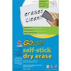 "GoWrite!® Dry Erase Sheet - Dry-erase, Self-adhesive - White Surface - 11"" Width x 17"" Length - No - 5 / Pack"